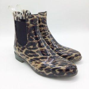 J Crew Chelsea Leopard Print Rain Boots Size 6